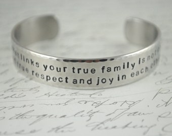 The Bond that Links Your True Family Hand Stamped Cuff Bracelet