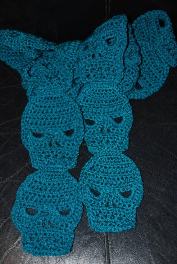 Crochet Pattern Skull Scarf : Crocheted SKULL Scarf in Real Teal