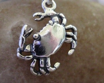 Cute Crab Charm Sterling Silver 9MM  Sea Life Marine Nautical