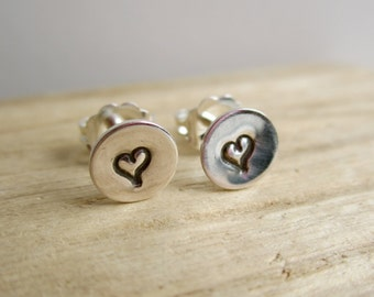 Heart Sterling Silver  Studs - Earrings