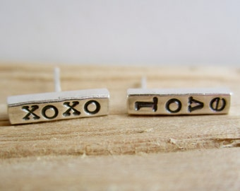 SAMPLE SALE - 50% OFF - xoxo/love Sterling Silver Bar Studs