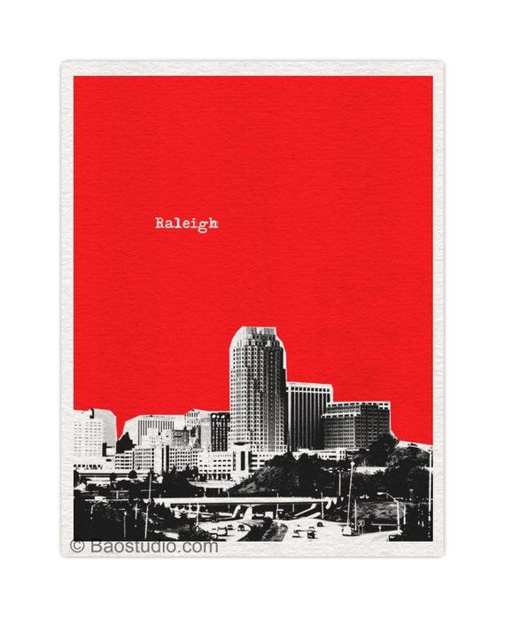 Raleigh Skyline North Carolina NC  - 8x10 World Traveler Series Pop Art Print City Skyline Raleigh art - Available in 56 Colors - UNC025