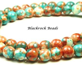 4mm Rain Flower Stone Ocean Jade Round Gemstone Beads - 15.5 Inch Strand - Salmon, Red Orange, Sky Blue - BB5