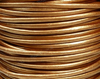 0.5mm Metallic Bronze Premium Leather Cord - 3 Yards / 9 Feet / 2.74 Meters