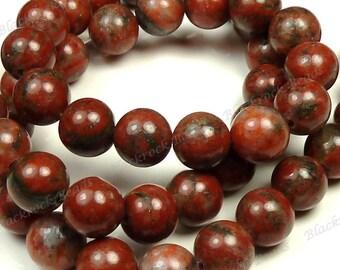 6mm Red Sesame Jasper Beads - 16 Inch Strand - Natural Gemstone, Round, Opaque - BC32