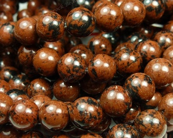 10mm Mahogany Obsidian Natural Gemstone Beads - 16 Inch Strand - Opaque, Reddish Brown, Black, Round - BG41