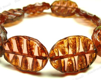 19x13mm Pink Rosaline Picasso Chunky Carved Oval Czech Glass Beads - 4pcs - Puffed Flat - BE44