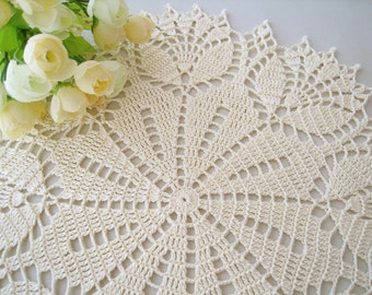 Crochet Doily Cream Tulip Flower Lace Tablecloth Table Centerpiece Light Yellow Cottage Chic Home Decor Unique Gift