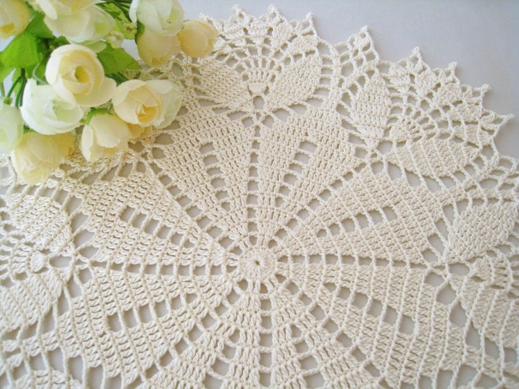 Crochet Doily Cream Tulip Flower Lace Tablecloth By Dosymphony