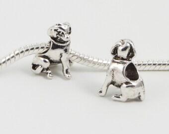 3 Beads - Dog Animal Puppy European Bead Charm E0186