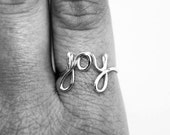 Joy Ring - Silver Wire Ring - Word Ring - Cursive Ring - Dainty Jewelry - Name Ring - Wedding Jewelry // Silver or Rose Gold