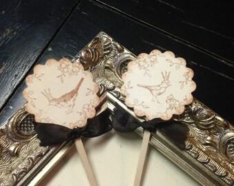 Bird cupcake toppers- wedding cupcake toppers- Bird and crown cupcake picks- set of 25