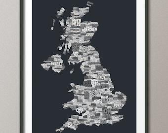 Great Britain UK City Text Map, Art Print (233)