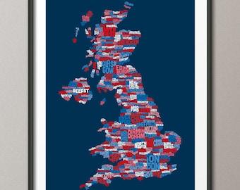 Great Britain UK City Text Map, Art Print (234)