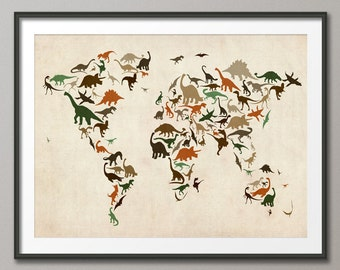 Dinosaur Map of the World Map, Art Print (186)