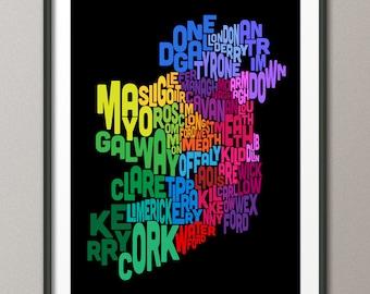 Ireland Eire County Text map, Art Print (244)