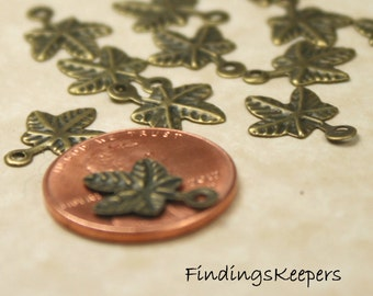 Leaf Charm 12 Charms Antique  Bronze Metal Stamping 13 x 10 mm -  bz121