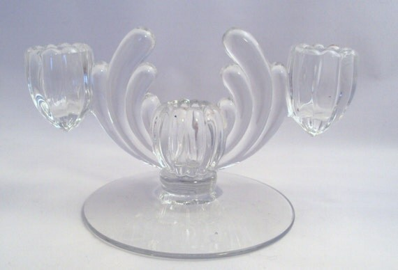 Vintage Glass Art Deco Candle Holder: Vintage Heisey Glass Crystolite Art Deco Candle Holder