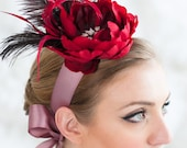 Bridal Headband ~ Beautifully accented with vintage broach and schlappen feathers