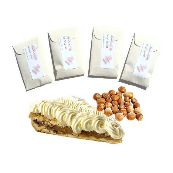 Hazelnut Supreme Scented Sachets, Modern Home Fragrance, White Wedding Candle Favors, Vanilla Drawer Freshener, Cream Nuts Decor