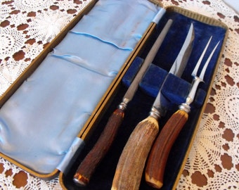 Sheffield 3 Piece Carving Set Stag Horn Handles Stainless Case