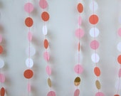 pink coral white gold dots garland - 10 FT - chiarabelle