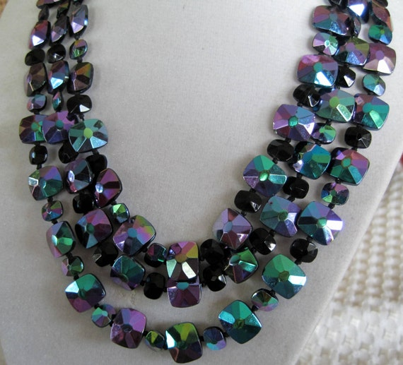 Vintage Signed Vogue Faceted Glass Bead Necklace Set
