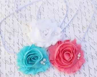 Set of 3- Shabby Flower Headband Set/ Shabby Flower Headband/ Newborn Headband/ Baby Headband/ Flower Girl/ Wedding/ Photo Prop