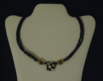 Wood leopard print beaded necklace