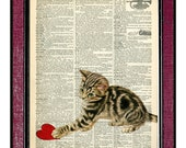 CAT WITH A HEART Valentine Day Gift Valentine Art Book Page Art Dictionary Page Art Dictionary Art Print Heart Art Recycled Art Cat Art