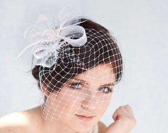 Bridal birdcage with feather headpiece, wedding birdcage with fascinator, bridal headpiece
