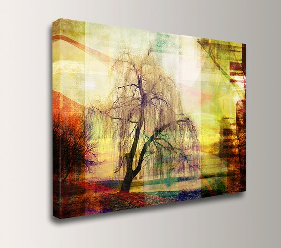 "Mixed Media Art - Abstract Scenic Landscape - Digital Art on Canvas Print  - "" Sleepy Hollow """