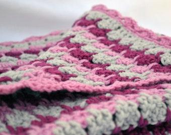 Rain drop pink crochet baby blanket, textured photo prop crochet blanket, baby blanket, travel blanket, crib blanket, crochet baby afghan