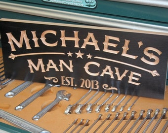 Garage Sign, Guy Cave, Guy Gift, Custom Sign, Man Cave Sign, Rustic Man Cave Sign, Carved Wooden Sign, Benchmark Signs Maple mc4