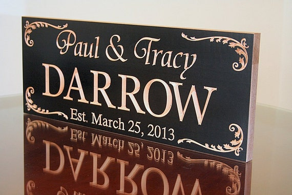 Family Name Sign, Personalized Anniversary Sign, Benchmark Custom Signs Maple DD