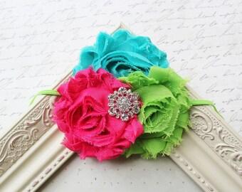 Hot pink Chiffon flower headband, baby headbands, neon headbands, flower headbands, newborn headbands, summer headbands, photography prop