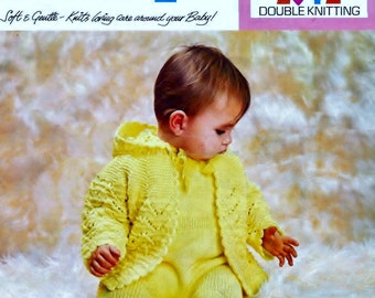Baby  DK Hooded Jacket and Pull-ups 18 to 22 ins - Lister 983 - PDF of Vintage Knitting Patterns