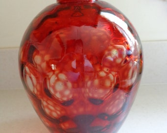 Red Glass Vase  Hand Blown Glass Wheaton Glass circa  1970s   Beautiful finish