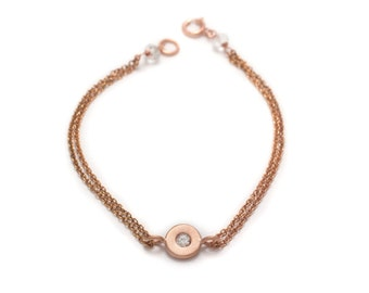 Floating White Topaz Bracelet - Rose Gold - Double Chain Bracelet - Chain and Gemstone Bracelet