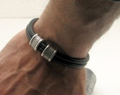EXPRESS SHIPPING Fathers day gift Men's leather bracelet Black leather muti strand  leather bracelet with silver plated spacers and clasp