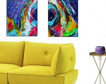 "ART PRINT of original painting 2 piece set- ""Energy""- colorful and bold"