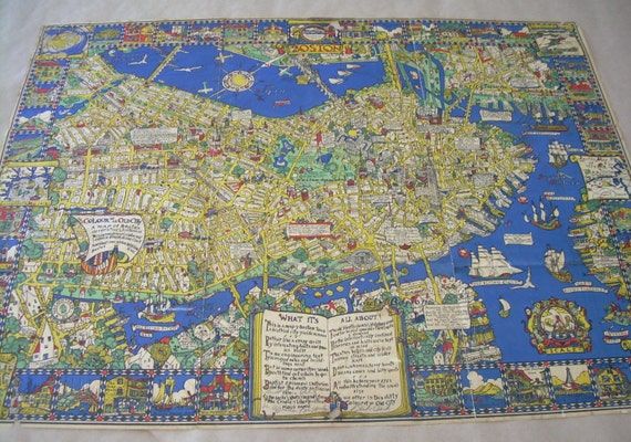 Original antique tourist map of Boston by lockedesignstudios – Boston City Map Tourist