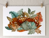 Fawn Deer Painting, Watercolor Art, Botanical Garden, Archival Print - Oh Deer