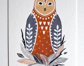 Owl Illustration Art Painting - Little Owl Paz - Archival Print