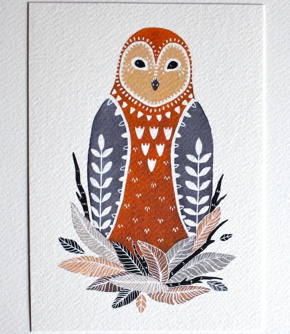 Owl Illustration Art Painting - Little Owl Paz - Archival Print
