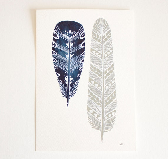 Feather Art Painting - Watercolor Art - Archival Print - Mila Feathers