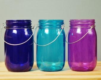 Trio of Tinted Glass Mason Jar Lanterns, Cool Jewel Tones from Deep Cobalt  to Amethyst