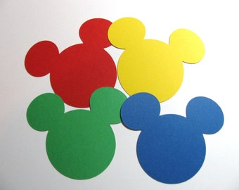 "Mickey Mouse Clubhouse - 30 pack- 2"" ear die cuts- Choose your color -DIY tags, favor tags, wish tags, labels"