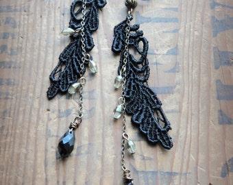 Black Lace, Long Chain Clip Earrings, Black Teardrop Clip on, Black Lace Earrings, Screw Back, Non pierced