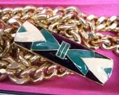 Diane Von Furstenberg 1970s Sleek Enamel Gilt Chain Belt